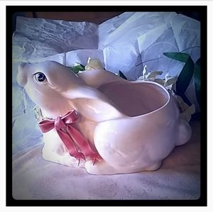 Vintage Large Bunny w/Pink & Flowers Bow Planter